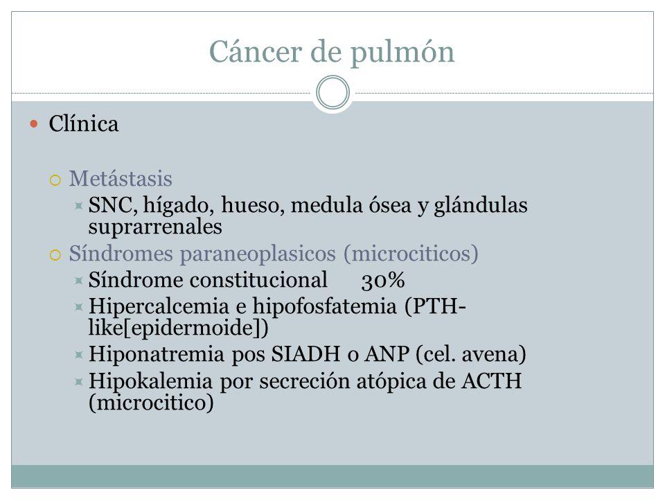 Cáncer de pulmón Clínica Metástasis SNC, hígado, hueso, medula ósea y glándulas suprarrenales Síndromes paraneoplasicos (microciticos) Síndrome consti