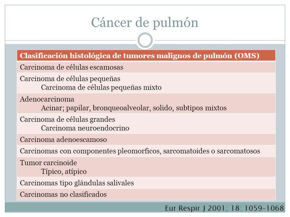 Cáncer de pulmón Clasificación histológica de tumores malignos de pulmón (OMS) Carcinoma de células escamosas Carcinoma de células pequeñas Carcinoma