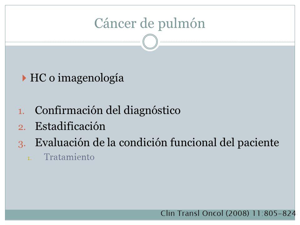 Cáncer de pulmón HC o imagenología 1. Confirmación del diagnóstico 2. Estadificación 3. Evaluación de la condición funcional del paciente 1. Tratamien