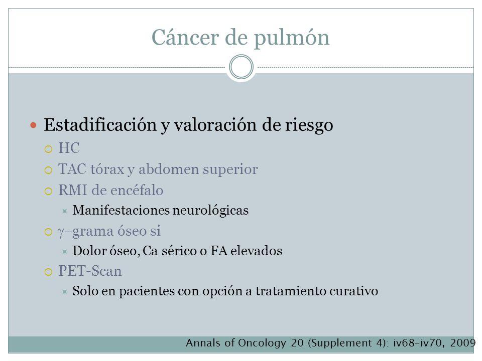 Cáncer de pulmón Estadificación y valoración de riesgo HC TAC tórax y abdomen superior RMI de encéfalo Manifestaciones neurológicas grama óseo si Dolo
