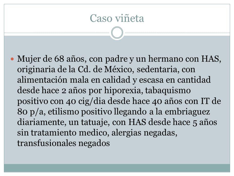 Caso viñeta Mujer de 68 años, con padre y un hermano con HAS, originaria de la Cd. de México, sedentaria, con alimentación mala en calidad y escasa en