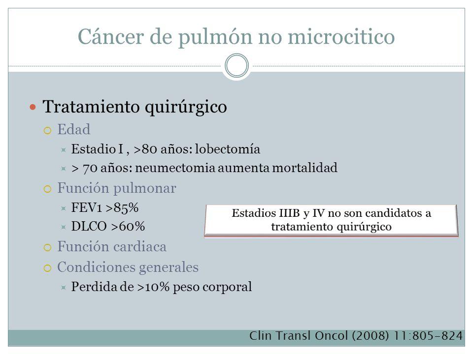 Cáncer de pulmón no microcitico Tratamiento quirúrgico Edad Estadio I, >80 años: lobectomía > 70 años: neumectomia aumenta mortalidad Función pulmonar