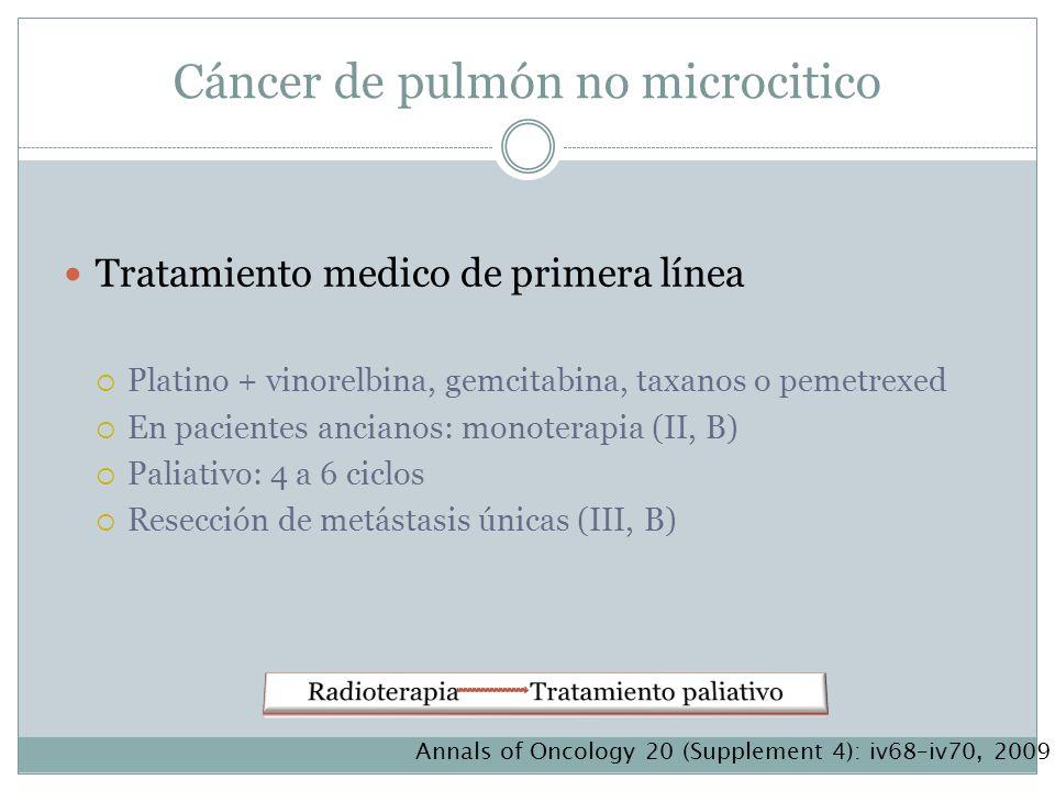Cáncer de pulmón no microcitico Tratamiento medico de primera línea Platino + vinorelbina, gemcitabina, taxanos o pemetrexed En pacientes ancianos: mo