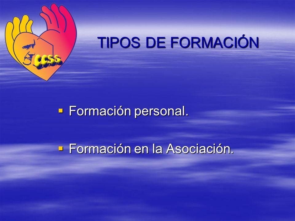 Formación personal. Formación personal. Formación en la Asociación. Formación en la Asociación. TIPOS DE FORMACIÓN