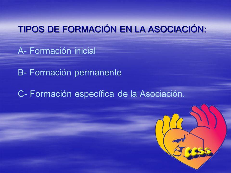 TIPOS DE FORMACIÓN EN LA ASOCIACIÓN: A- Formación inicial B- Formación permanente C- Formación específica de la Asociación.