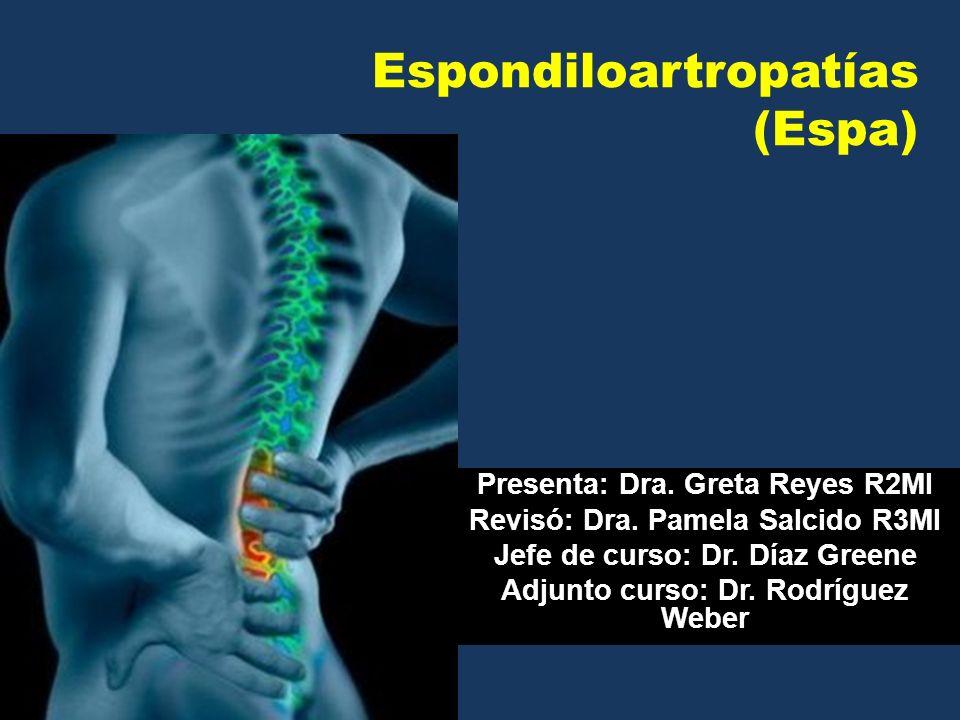 Espondiloartropatías (Espa) Presenta: Dra. Greta Reyes R2MI Revisó: Dra. Pamela Salcido R3MI Jefe de curso: Dr. Díaz Greene Adjunto curso: Dr. Rodrígu