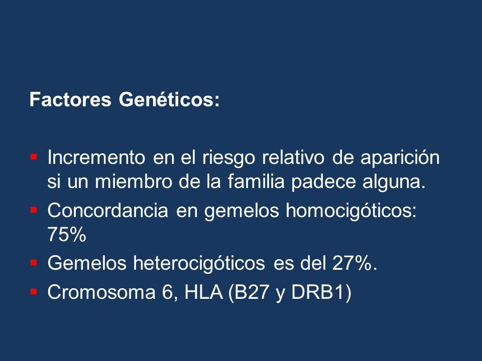 Factores Genéticos: Incremento en el riesgo relativo de aparición si un miembro de la familia padece alguna. Concordancia en gemelos homocigóticos: 75