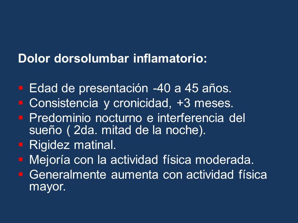 Dolor dorsolumbar inflamatorio: Edad de presentación -40 a 45 años. Consistencia y cronicidad, +3 meses. Predominio nocturno e interferencia del sueño