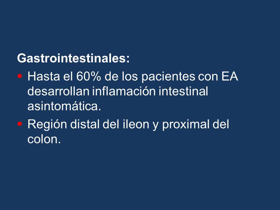 Gastrointestinales: Hasta el 60% de los pacientes con EA desarrollan inflamación intestinal asintomática. Región distal del ileon y proximal del colon