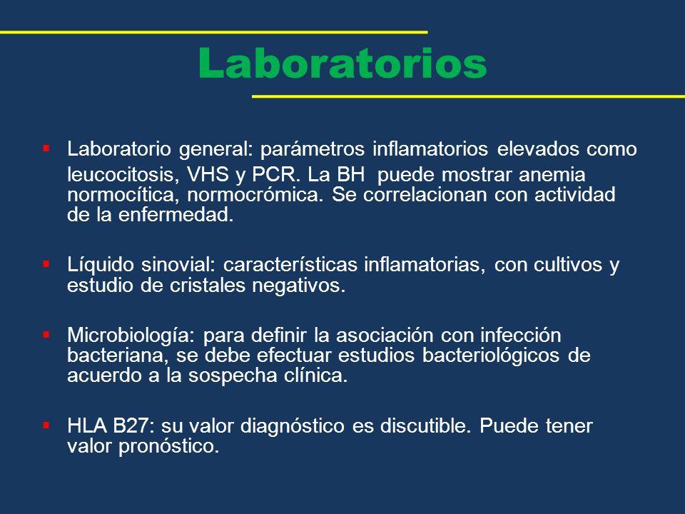 Laboratorio general: parámetros inflamatorios elevados como leucocitosis, VHS y PCR. La BH puede mostrar anemia normocítica, normocrómica. Se correlac
