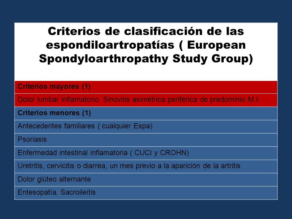 Criterios de clasificación de las espondiloartropatías ( European Spondyloarthropathy Study Group) Criterios mayores (1) Dolor lumbar inflamatorio. Si
