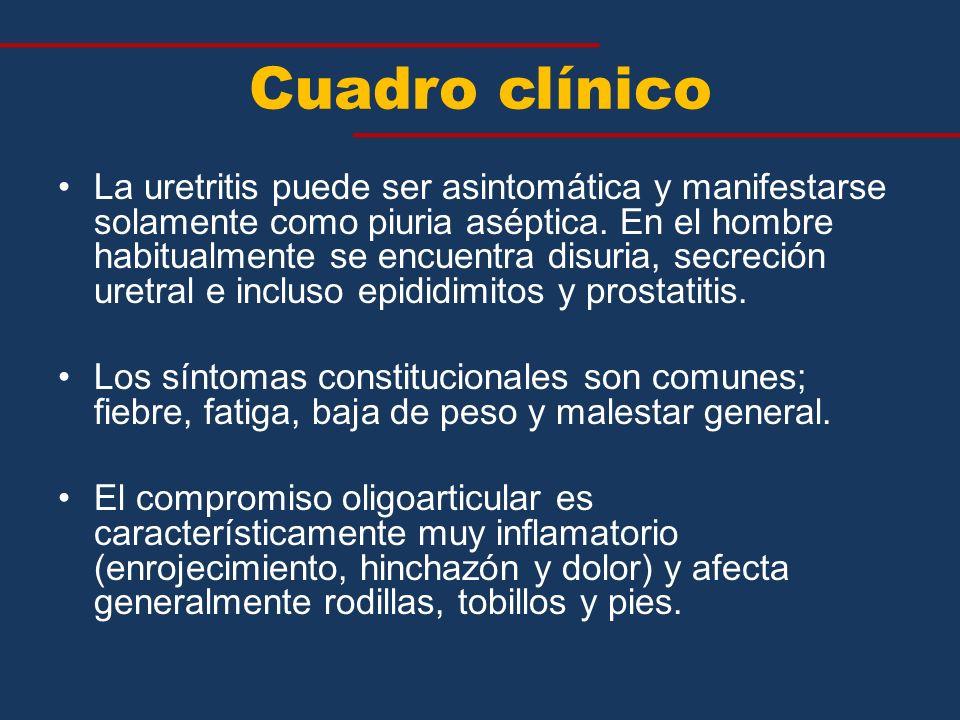 Cuadro clínico La uretritis puede ser asintomática y manifestarse solamente como piuria aséptica. En el hombre habitualmente se encuentra disuria, sec