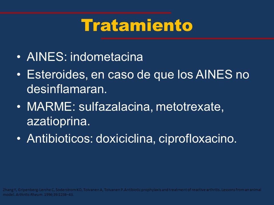 Tratamiento AINES: indometacina Esteroides, en caso de que los AINES no desinflamaran. MARME: sulfazalacina, metotrexate, azatioprina. Antibioticos: d