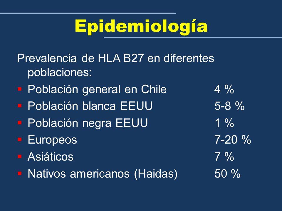 Epidemiología Prevalencia de HLA B27 en diferentes poblaciones: Población general en Chile 4 % Población blanca EEUU 5-8 % Población negra EEUU 1 % Eu