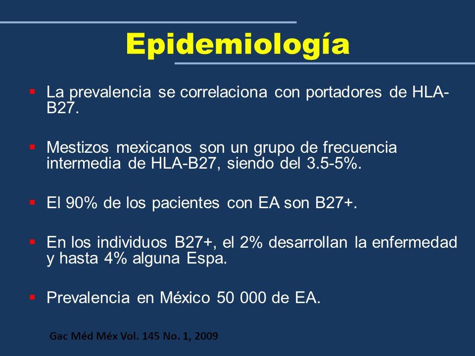 Epidemiología La prevalencia se correlaciona con portadores de HLA- B27. Mestizos mexicanos son un grupo de frecuencia intermedia de HLA-B27, siendo d