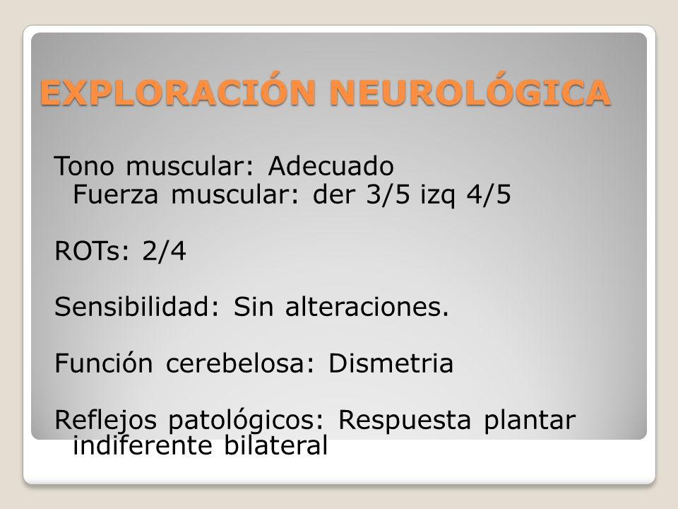 EXPLORACIÓN NEUROLÓGICA Tono muscular: Adecuado Fuerza muscular: der 3/5 izq 4/5 ROTs: 2/4 Sensibilidad: Sin alteraciones. Función cerebelosa: Dismetr