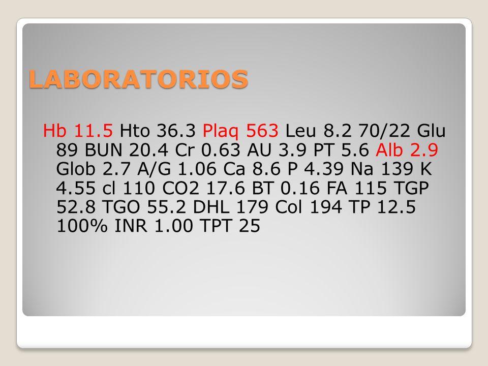 LABORATORIOS Hb 11.5 Hto 36.3 Plaq 563 Leu 8.2 70/22 Glu 89 BUN 20.4 Cr 0.63 AU 3.9 PT 5.6 Alb 2.9 Glob 2.7 A/G 1.06 Ca 8.6 P 4.39 Na 139 K 4.55 cl 11