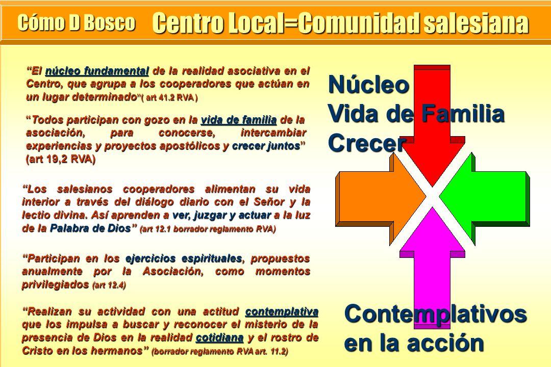 Centro Local=Comunidad salesiana Cómo D Bosco Núcleo Vida de Familia Crecer El núcleo fundamental de la realidad asociativa en el Centro, que agrupa a