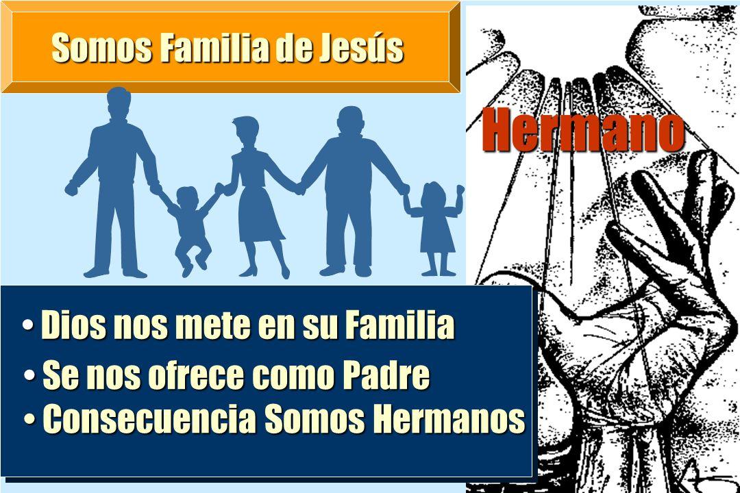 Somos Familia de Jesús Hermano Dios nos mete en su Familia Dios nos mete en su Familia Se nos ofrece como Padre Se nos ofrece como Padre Consecuencia