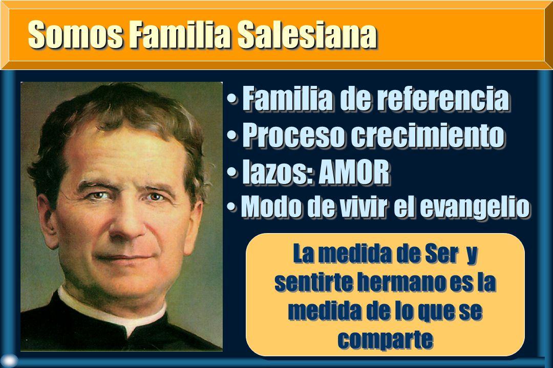Somos Familia Salesiana Somos Familia Salesiana Familia de referencia Familia de referencia Proceso crecimiento Proceso crecimiento lazos: AMOR lazos: