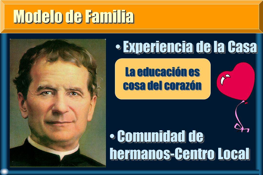 Modelo de Familia Modelo de Familia Experiencia de la Casa Experiencia de la Casa La educación es cosa del corazón Comunidad de hermanos-Centro Local