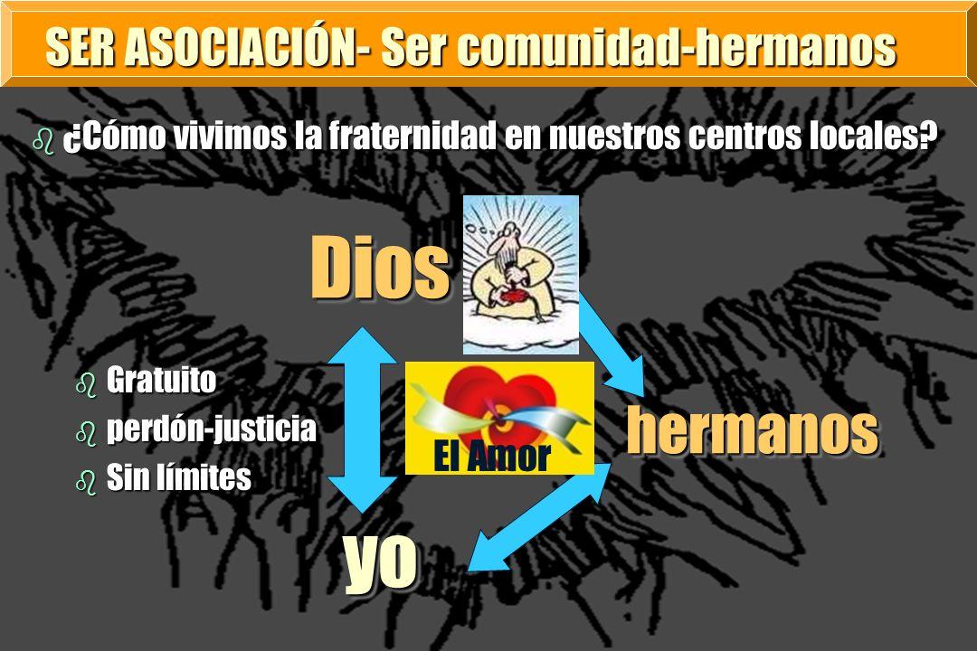 SER ASOCIACIÓN- Ser comunidad-hermanos b ¿Cómo vivimos la fraternidad en nuestros centros locales? b Gratuito b perdón-justicia b Sin límites Dios Dio