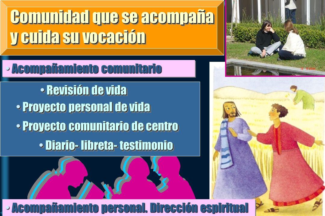 Comunidad que se acompaña y cuida su vocación Acompañamiento comunitario Acompañamiento comunitario Acompañamiento personal. Dirección espiritual Acom