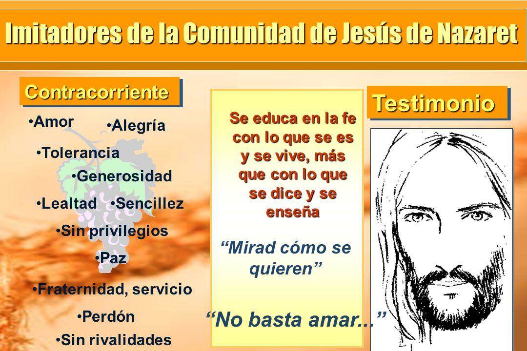 Se educa en la fe con lo que se es y se vive, más que con lo que se dice y se enseña Imitadores de la Comunidad de Jesús de Nazaret Amor Alegría Toler