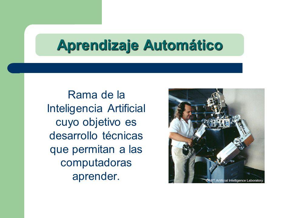 Aprendizaje Automático Rama de la Inteligencia Artificial cuyo objetivo es desarrollo técnicas que permitan a las computadoras aprender.