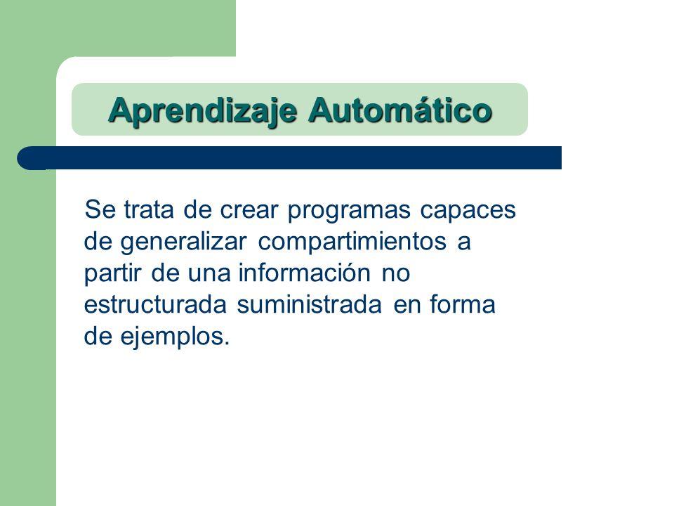 Aprendizaje Automático Se trata de crear programas capaces de generalizar compartimientos a partir de una información no estructurada suministrada en