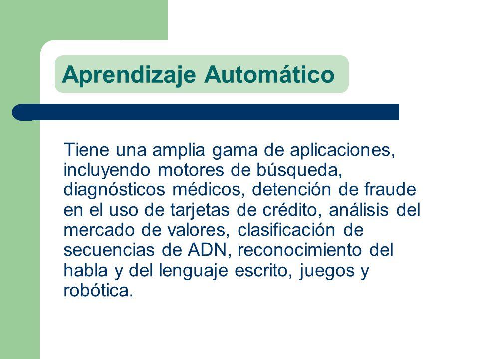 Aprendizaje Automático Tiene una amplia gama de aplicaciones, incluyendo motores de búsqueda, diagnósticos médicos, detención de fraude en el uso de t