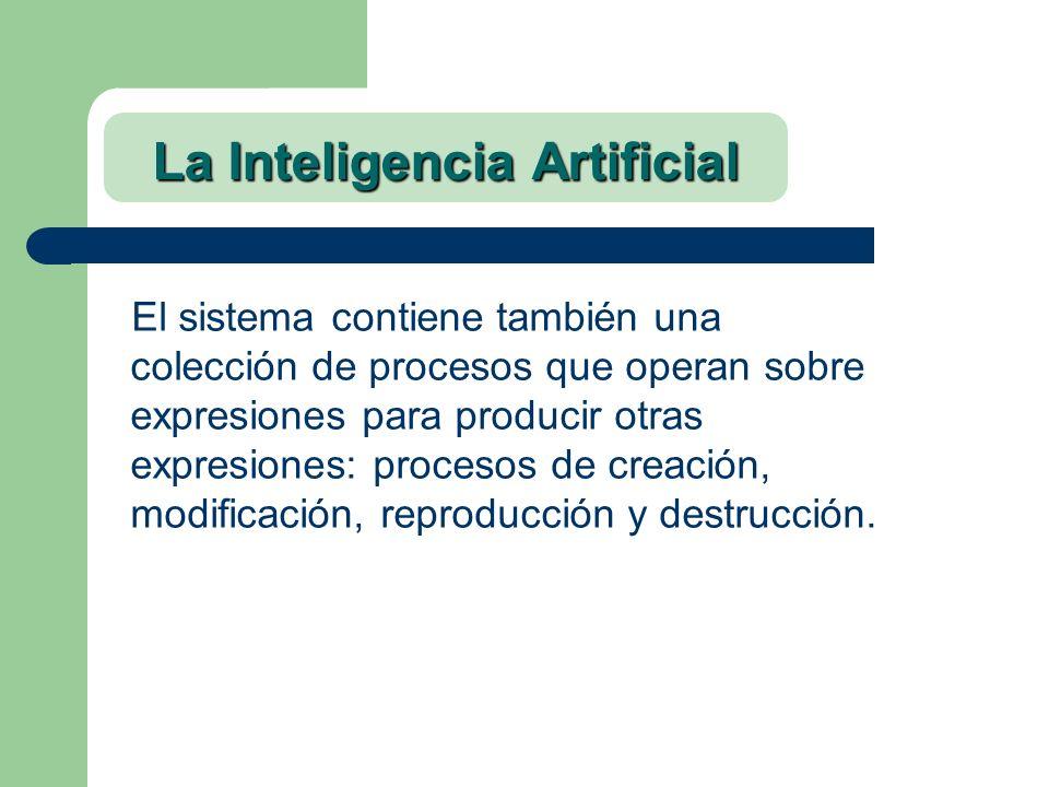 La Inteligencia Artificial El sistema contiene también una colección de procesos que operan sobre expresiones para producir otras expresiones: proceso