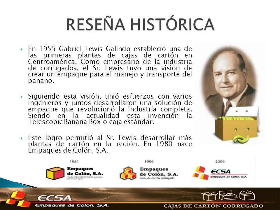 En 1955 Gabriel Lewis Galindo estableció una de las primeras plantas de cajas de cartón en Centroamérica. Como empresario de la industria de corrugado