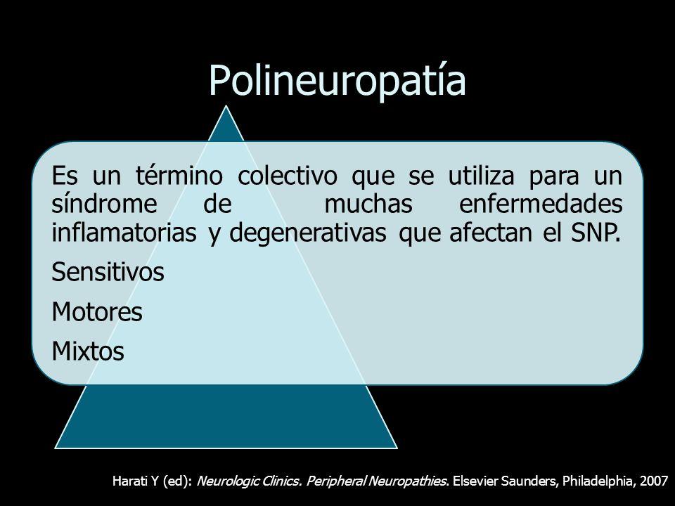 Polineuropatía Es un término colectivo que se utiliza para un síndrome de muchas enfermedades inflamatorias y degenerativas que afectan el SNP. Sensit
