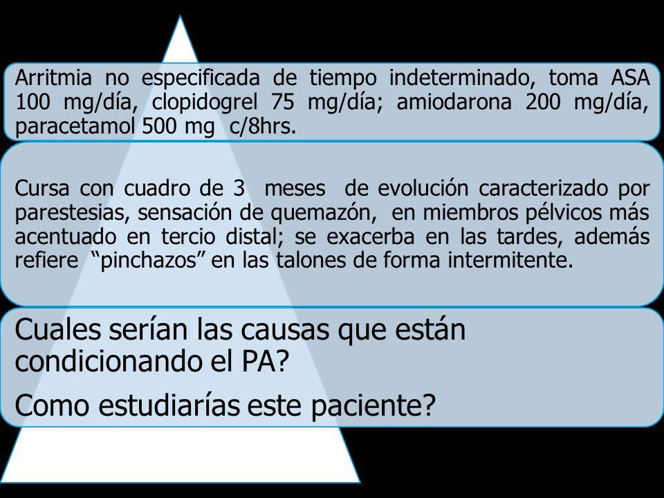 Arritmia no especificada de tiempo indeterminado, toma ASA 100 mg/día, clopidogrel 75 mg/día; amiodarona 200 mg/día, paracetamol 500 mg c/8hrs. Cursa