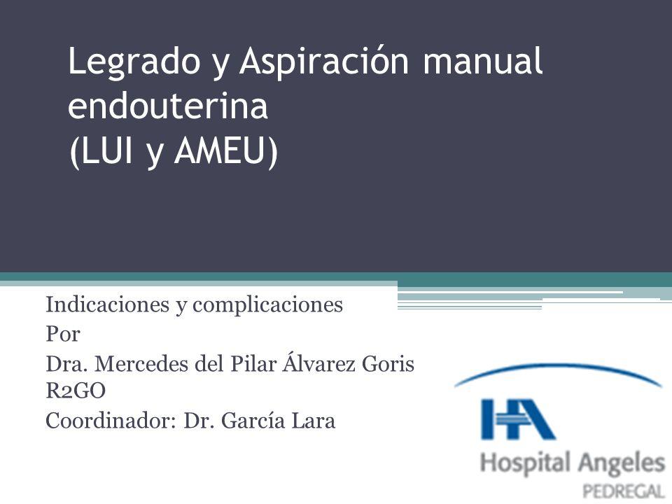 Legrado y Aspiración manual endouterina (LUI y AMEU) Indicaciones y complicaciones Por Dra. Mercedes del Pilar Álvarez Goris R2GO Coordinador: Dr. Gar