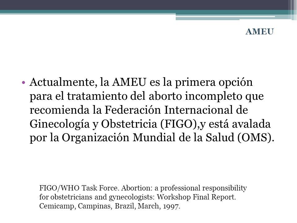 Actualmente, la AMEU es la primera opción para el tratamiento del aborto incompleto que recomienda la Federación Internacional de Ginecología y Obstet