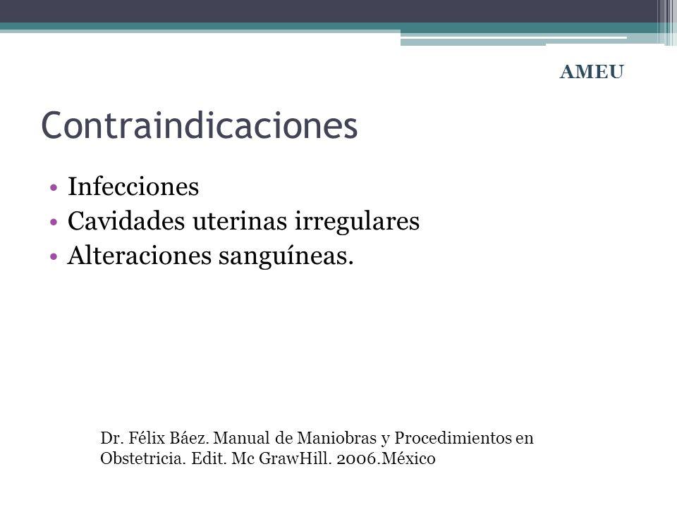 Contraindicaciones Infecciones Cavidades uterinas irregulares Alteraciones sanguíneas. Dr. Félix Báez. Manual de Maniobras y Procedimientos en Obstetr