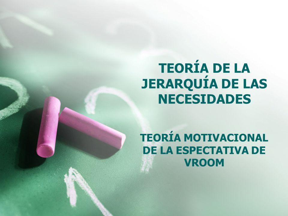 TEORÍA DE LA JERARQUÍA DE LAS NECESIDADES TEORÍA MOTIVACIONAL DE LA ESPECTATIVA DE VROOM