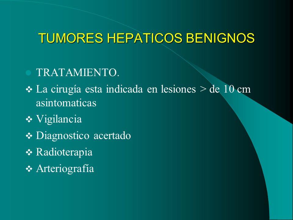 TUMORES HEPATICOS BENIGNOS TRATAMIENTO. La cirugía esta indicada en lesiones > de 10 cm asintomaticas Vigilancia Diagnostico acertado Radioterapia Art
