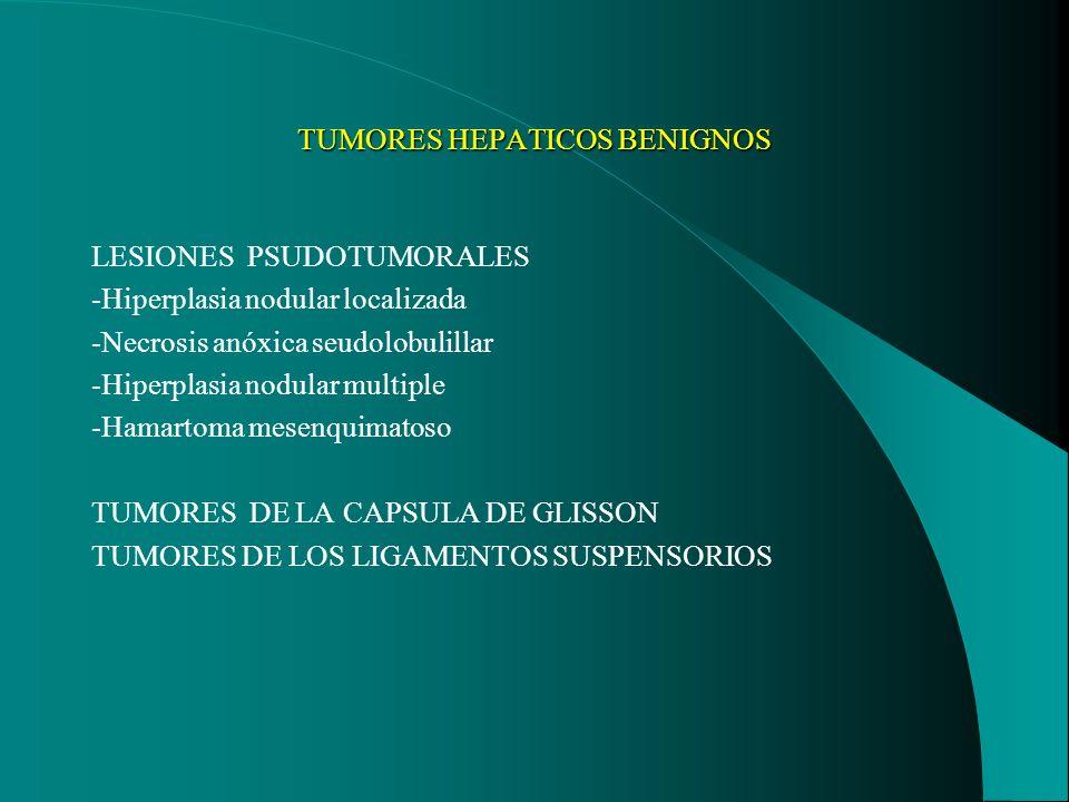 TUMORES HEPATICOS BENIGNOS LESIONES PSUDOTUMORALES -Hiperplasia nodular localizada -Necrosis anóxica seudolobulillar -Hiperplasia nodular multiple -Ha