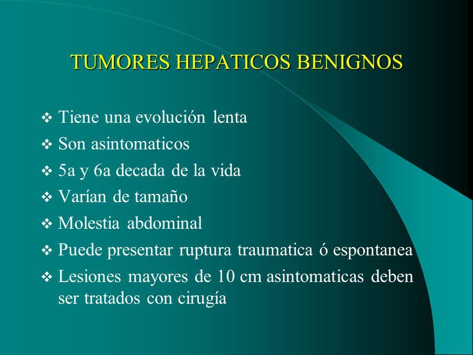 TUMORES HEPATICOS BENIGNOS Tiene una evolución lenta Son asintomaticos 5a y 6a decada de la vida Varían de tamaño Molestia abdominal Puede presentar r