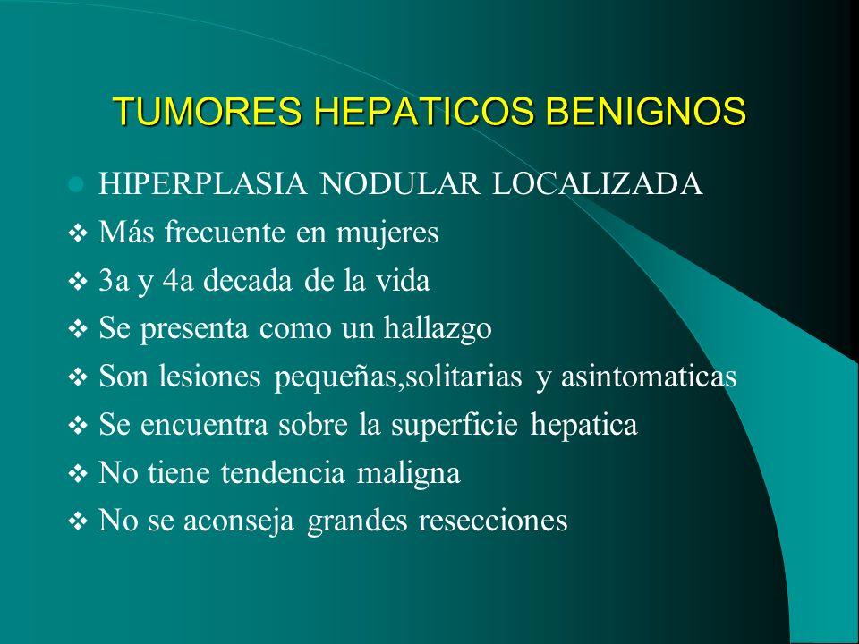 TUMORES HEPATICOS BENIGNOS HIPERPLASIA NODULAR LOCALIZADA Más frecuente en mujeres 3a y 4a decada de la vida Se presenta como un hallazgo Son lesiones