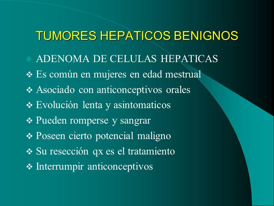 TUMORES HEPATICOS BENIGNOS ADENOMA DE CELULAS HEPATICAS Es común en mujeres en edad mestrual Asociado con anticonceptivos orales Evolución lenta y asi