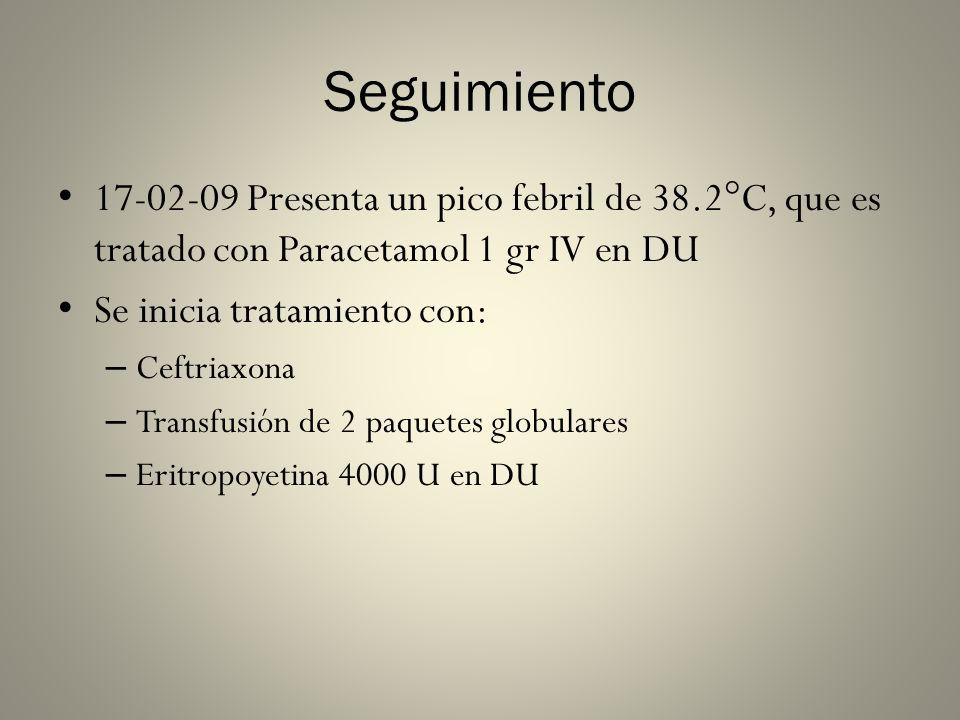 Seguimiento 17-02-09 Presenta un pico febril de 38.2°C, que es tratado con Paracetamol 1 gr IV en DU Se inicia tratamiento con: – Ceftriaxona – Transf