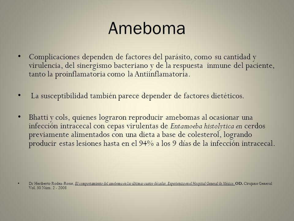 Ameboma Complicaciones dependen de factores del parásito, como su cantidad y virulencia, del sinergismo bacteriano y de la respuesta inmune del pacien