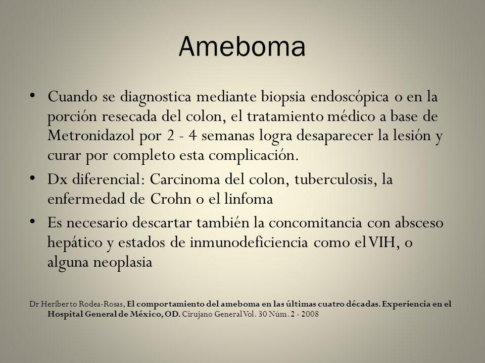 Ameboma Cuando se diagnostica mediante biopsia endoscópica o en la porción resecada del colon, el tratamiento médico a base de Metronidazol por 2 - 4