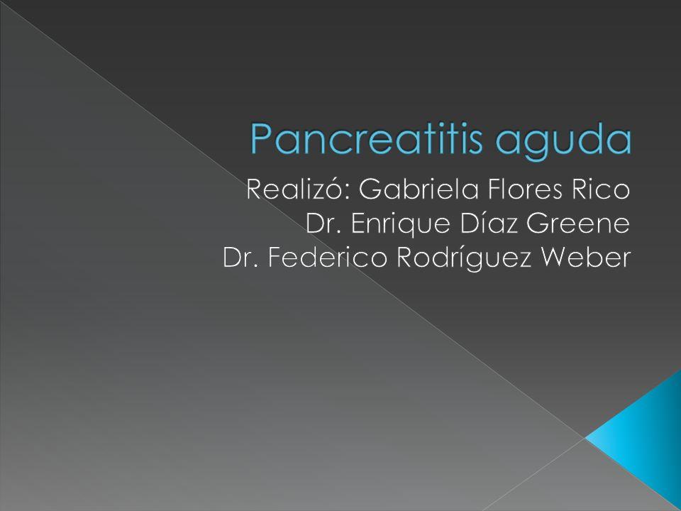 Proceso inflamatorio del páncreas, el cual frecuentemente involucra tejido peripancreatico y/organos remotos.