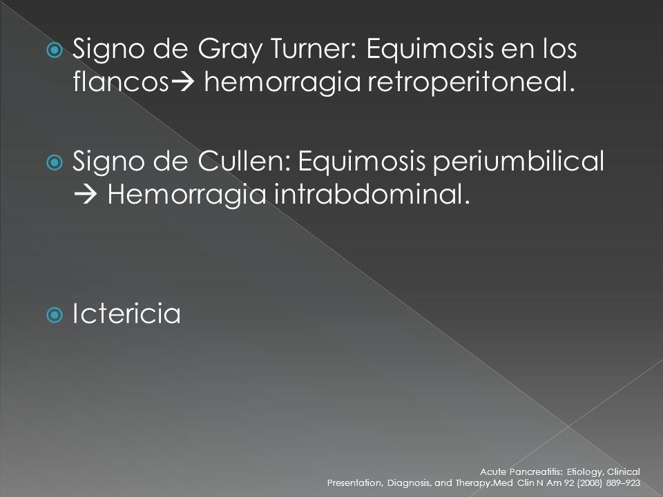 Signo de Gray Turner: Equimosis en los flancos hemorragia retroperitoneal. Signo de Cullen: Equimosis periumbilical Hemorragia intrabdominal. Icterici