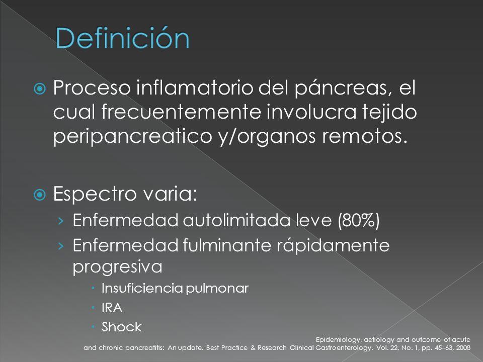 Complicaciones locales: Necrosis de células acinares Absceso pancreatico Pseudoquiste La infección en necrosis pancreatica ocurre en 75% de los casos.